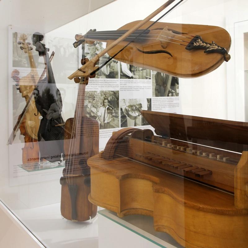 Na fotografii sú vo vitríne rôzne typy strunových hudobných nástrojov